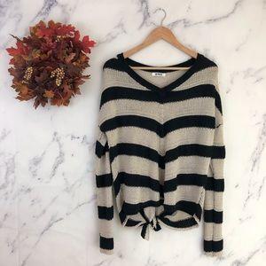 BB Dakota Chevron Striped Knot Back Sweater